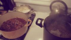 Simmering Pots: Osso Bucco, Potatoes and Pasta (my meat and carb fest)